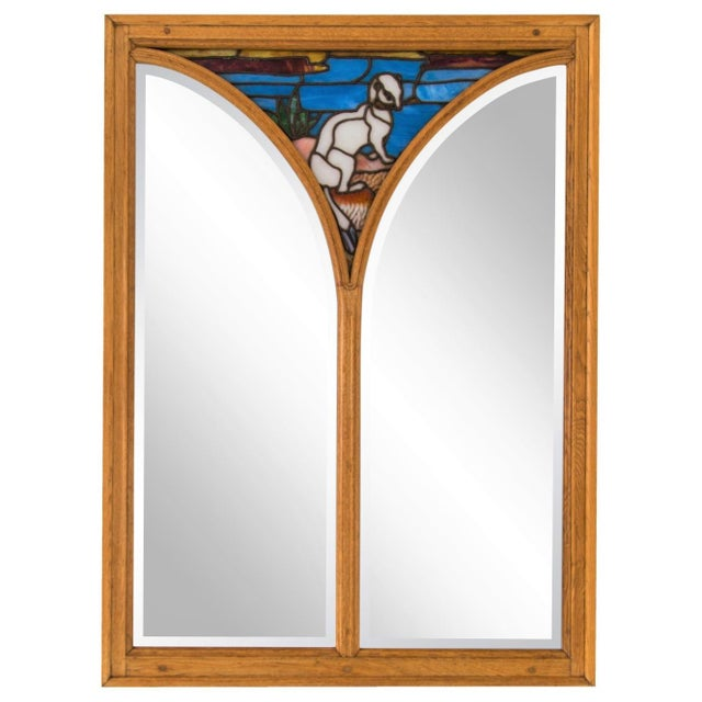 White Large Oak Mirror W/ Stained Glass Ermine For Sale - Image 8 of 8
