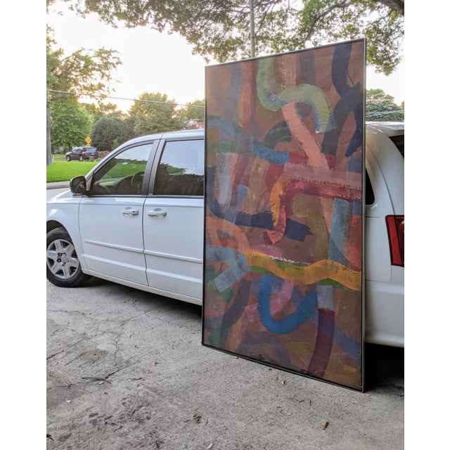 """Abstract 81"""" Oversize Framed Oil on Canvas Abstract Painting For Sale - Image 3 of 13"""