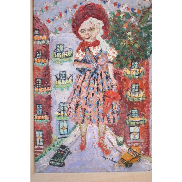 Exceptional encaustic painting by Russian-born artist, Rifka Angel (1899-1988) depicting a giant, old woman towering over...