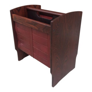 Vintage Mid-Century Danish Modern Rosewood and Leather Magazine Rack For Sale
