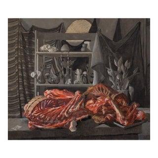 Original Still Life Oil Painting: Bear Skeleton and Deer Skull For Sale
