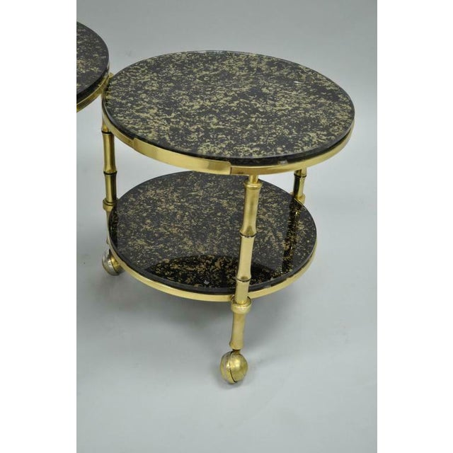 1970s Hollywood Regency Brass and Glass Faux Bamboo Round Nesting Expanding Cocktail Coffee Side Table For Sale - Image 9 of 11