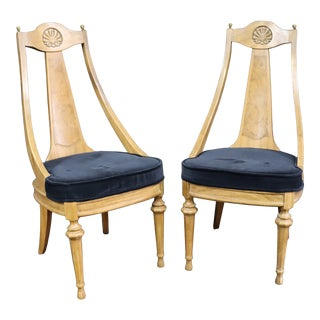 Mid Century Fruitwood Chairs/Pair For Sale