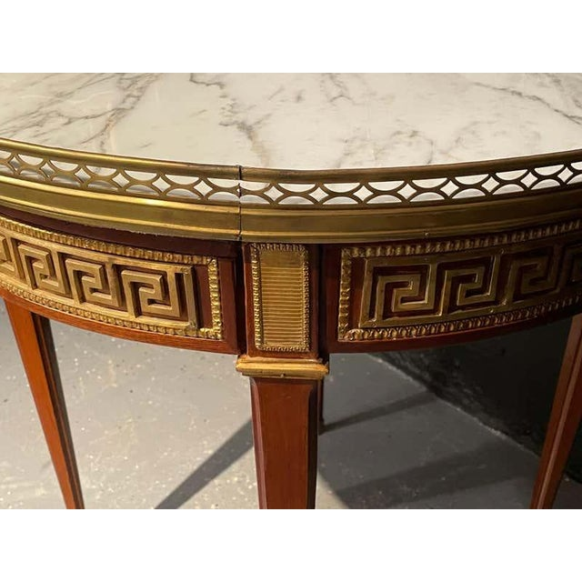 Pair of Marble Top Greek Key Bouillotte or End Tables, Manner of Jansen For Sale - Image 10 of 11