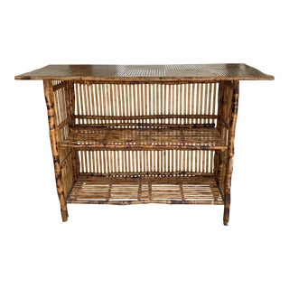 Vintage Burnt Bamboo Collapsible Shelf Bookcase For Sale
