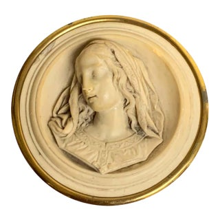 19th Century Italian Lava Stone Cameo of the Virgin Mary Paperweight For Sale