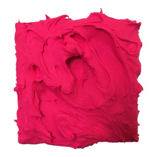 """""""Hot Pink Excess"""" Abstract Sculptural Painting by Chloe Hedden For Sale"""