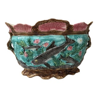 Late 19th Century Vintage French Majolica Fish Jardiniere Onnaing For Sale