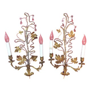 1920s Italian Gold Decorated Tole Sconces - a Pair For Sale