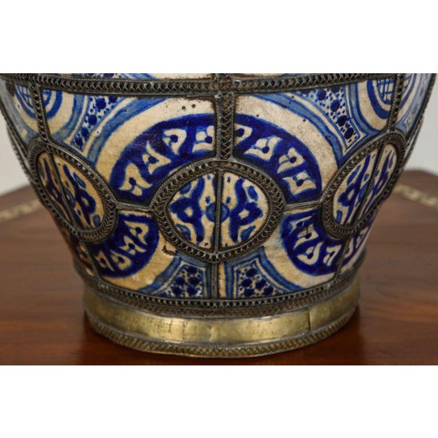 Antique Moroccan Ceramic Vase From Fez For Sale - Image 4 of 8