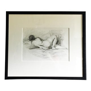 """""""Rachel Reclining"""" Contemporary Female Nude Charcoal Drawing, Framed For Sale"""