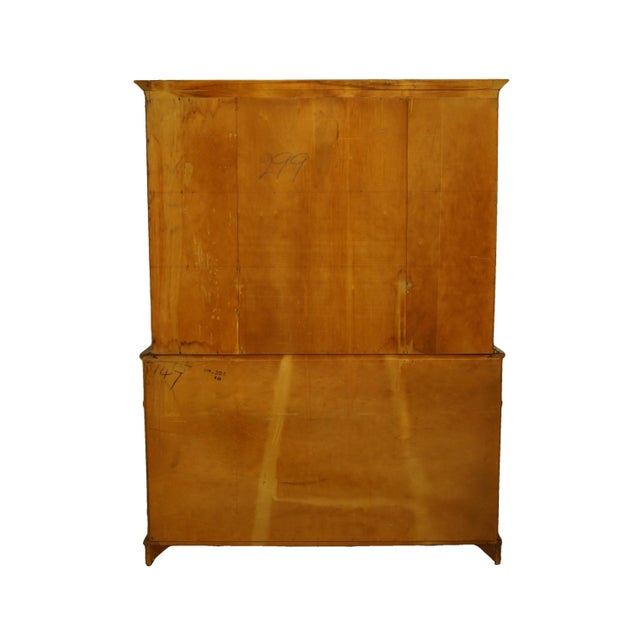 1960s Mahogany Traditional Style Secretary Credenza With Display China Cabinet Hutch For Sale - Image 10 of 13