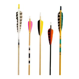 Colorful Vintage Wood Arrows - Set of 5 For Sale