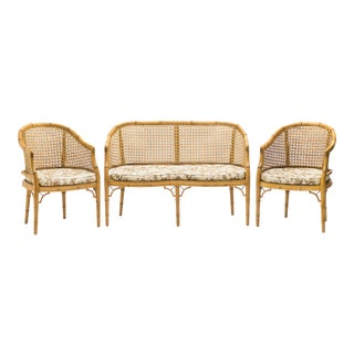 Mid-Century Modern French Riviera Cane Bamboo Sofa and Armchairs 1960s For Sale