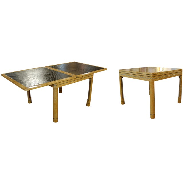 For your consideration is an absolutely gorgeous and unique game/dinette/dining table, with an expandable, black leather...
