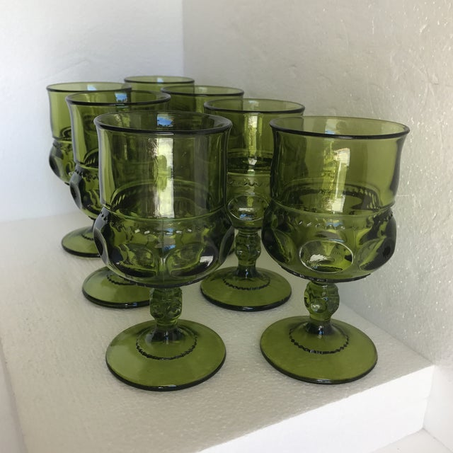 Mid-Century Green Goblet Glasses - Set of 7 For Sale - Image 5 of 10