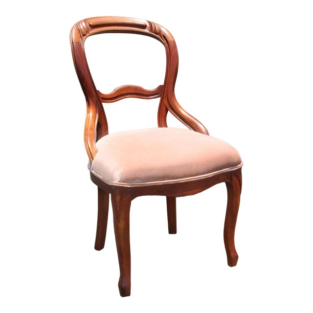 Solid Mahogany Balloon Back Queen Anne Chair Newly Upholstered in Palest Pink Velvet For Sale