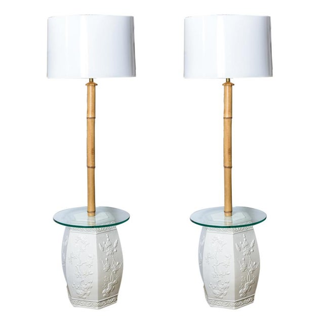Custom White Garden Stool & Bamboo Floor Lamps - A Pair For Sale - Image 11 of 11
