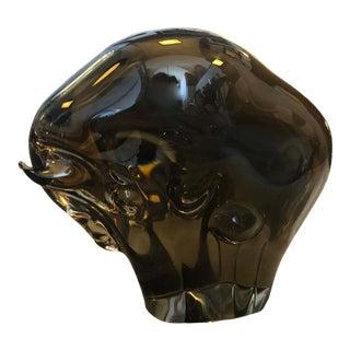 1970s Italian Vintage Livio Seguso Brown Murano Glass Bull For Sale