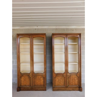 Baker Regency Style Walnut 2 Door Display Wall Cabinets - a Pair Preview