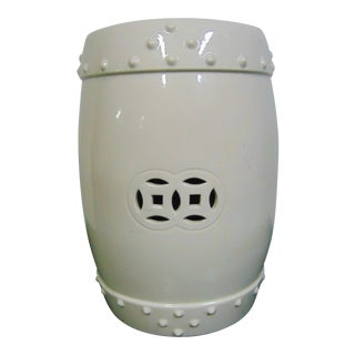 Chinese White Glaze Pottery Garden Seat For Sale