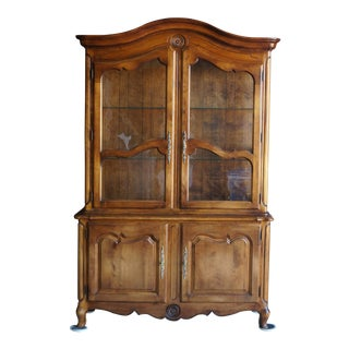 1980s French Country Ethan Allen China Cabinet For Sale