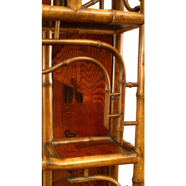 Bamboo and Inlaid Étagère With Pagoda Top For Sale - Image 4 of 5