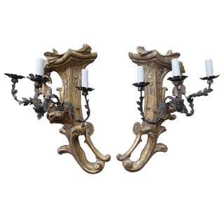 Three-Light Gilt Wood & Wrought Iron Sconces - A Pair For Sale