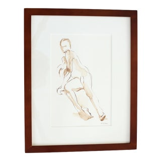 Contemporary Original Figure Pen and Ink Drawing of Seated Nude by Michelle Arnold Paine - Framed For Sale