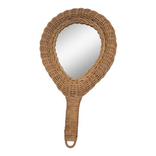 Vintage Rattan Hand Mirror For Sale