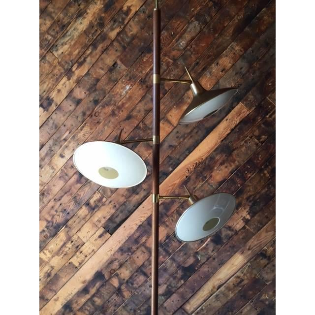 Mid-Century Brass & Wood Tension Pole Lamp - Image 11 of 11