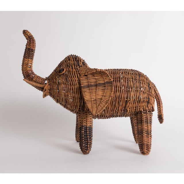 Vintage Wicker Elephant Statue For Sale - Image 11 of 13