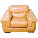 Image of 1980s Oversized Leather Lounge Chair For Sale