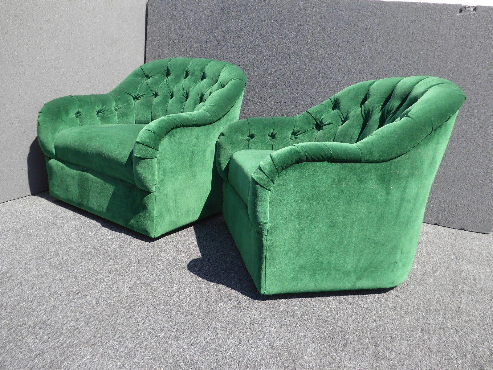 Vintage Pair Of Mid Century Modern Tufted Green Velvet Swivel Club Chairs    Image 5 Of