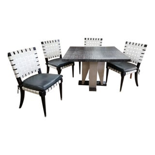 Mid Century Modern Vicente Wolf for Niedermaier Dining Table and 4 Chairs - 5 Pieces Dining Set For Sale