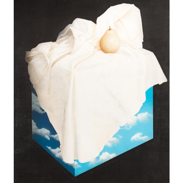 "Surrealism Magritte Style ""Pear on a Cube of Clouds"" Painting For Sale - Image 3 of 9"