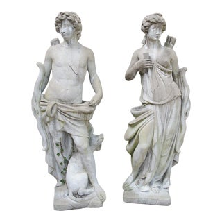 Pair of 20th Century French Statues Representing Apollo and Diana For Sale