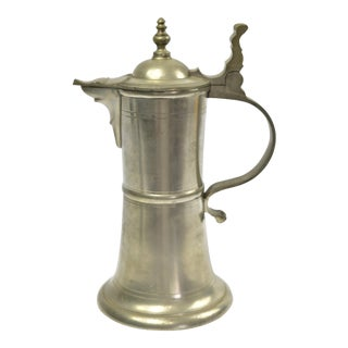 Vintage Rosette Pewter Pitcher For Sale