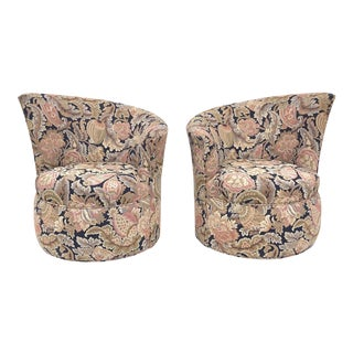 Pair Modern Swivel Club Chairs W/ Paisley Upholstery For Sale