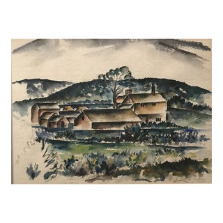 1944 John LeRoy Jackson Wpa Style Farm Scene Painting For Sale