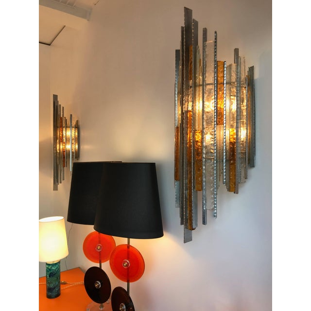 Very rare an monumental pair of sconces or wall lights by Biancardi and Jordan Arte at Verona Italy, they were the direct...