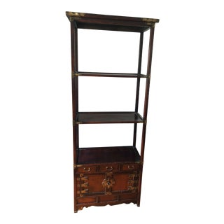 1950s Asian Style Wood and Brass Etagere/Bookshelf For Sale