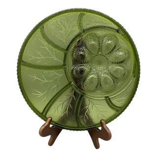 1960s Indiana Colony Glass Avocado Green Pebble Leaf Tree of Life Relish Dish and Deviled Egg Platter For Sale
