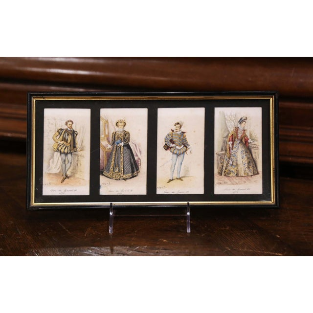 """Antique White 19th Century French King of France Framed Color Prints """"Set of Three"""" For Sale - Image 8 of 12"""