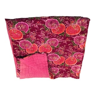 Anthropologie King Velvet Cotton Raspberry Quilt
