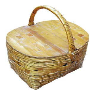 1960s Vintage Wicker and Wood Picnic Basket For Sale