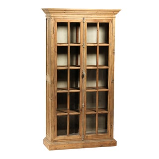 Reclaimed Pine Glass Door Cabinet For Sale