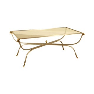 Italian Directoire Style Steel, Brass and Glass Rams Head Hoof Foot Coffee Table For Sale