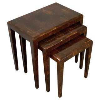 Mainland Smith Coconut Shell and Brass Inlay Nesting Tables For Sale