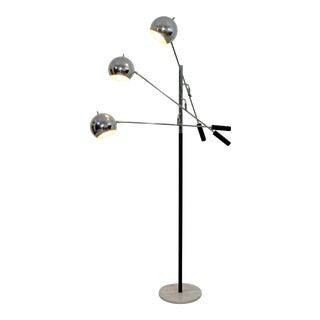 Mid Century Modern Robert Sonneman Chrome & White Marble 3 Arm Floor Lamp 1970s For Sale